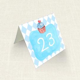 Καρτελάκι Τραπεζιού MyMastoras®- Blue Cupcake
