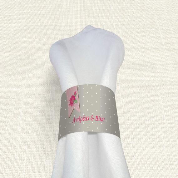 Δαχτυλίδι Πετσέτας Γάμου MyMastoras® - Ribbon Roses
