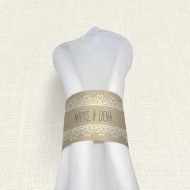 Δαχτυλίδι Πετσέτας Γάμου MyMastoras® - Lace Brown