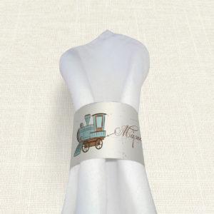 Δαχτυλίδι Πετσέτας Βάπτισης MyMastoras® – Train Dream