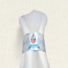 Δαχτυλίδι Πετσέτας Βάπτισης MyMastoras® – Blue Cupcake