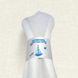 Δαχτυλίδι Πετσέτας Βάπτισης MyMastoras® – Ribbon Boat