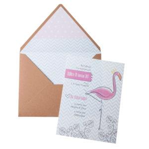 Προσκλητήριο Βάπτισης MyMastoras - Pink Flamingo
