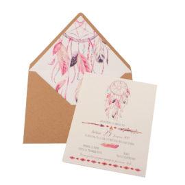 Προσκλητήρια Βάπτισης MyMastoras® – Σειρά Pink Dream Catcher (350.006)
