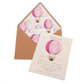 Προσκλητήρια Βάπτισης MyMastoras® – Σειρά Pink Balloon (350.010)