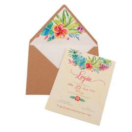 Προσκλητήρια Βάπτισης MyMastoras® – Σειρά Jungle Flowers (350.012)